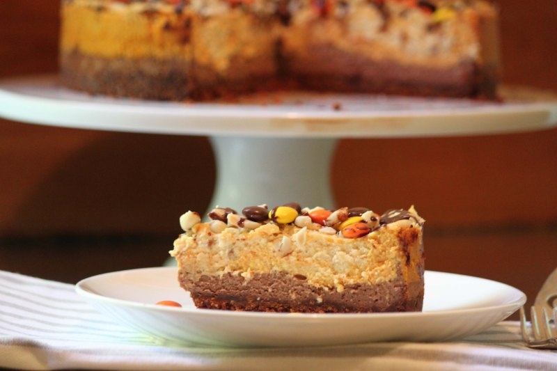 Chocolate, Pumpkin and Peanut Butter Cheesecake