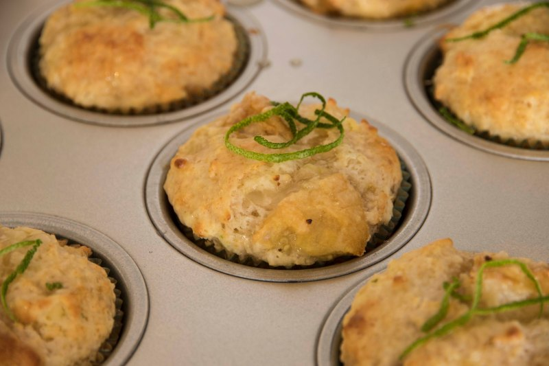 Roasted Feijoa, Lime + Coconut Muffins