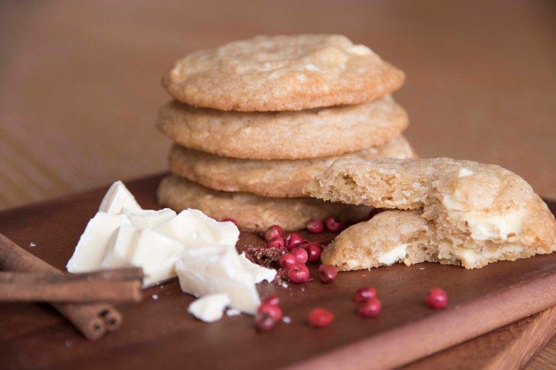 Cinnamon, Pink Pepper + White Chocolate Chunk Cookies