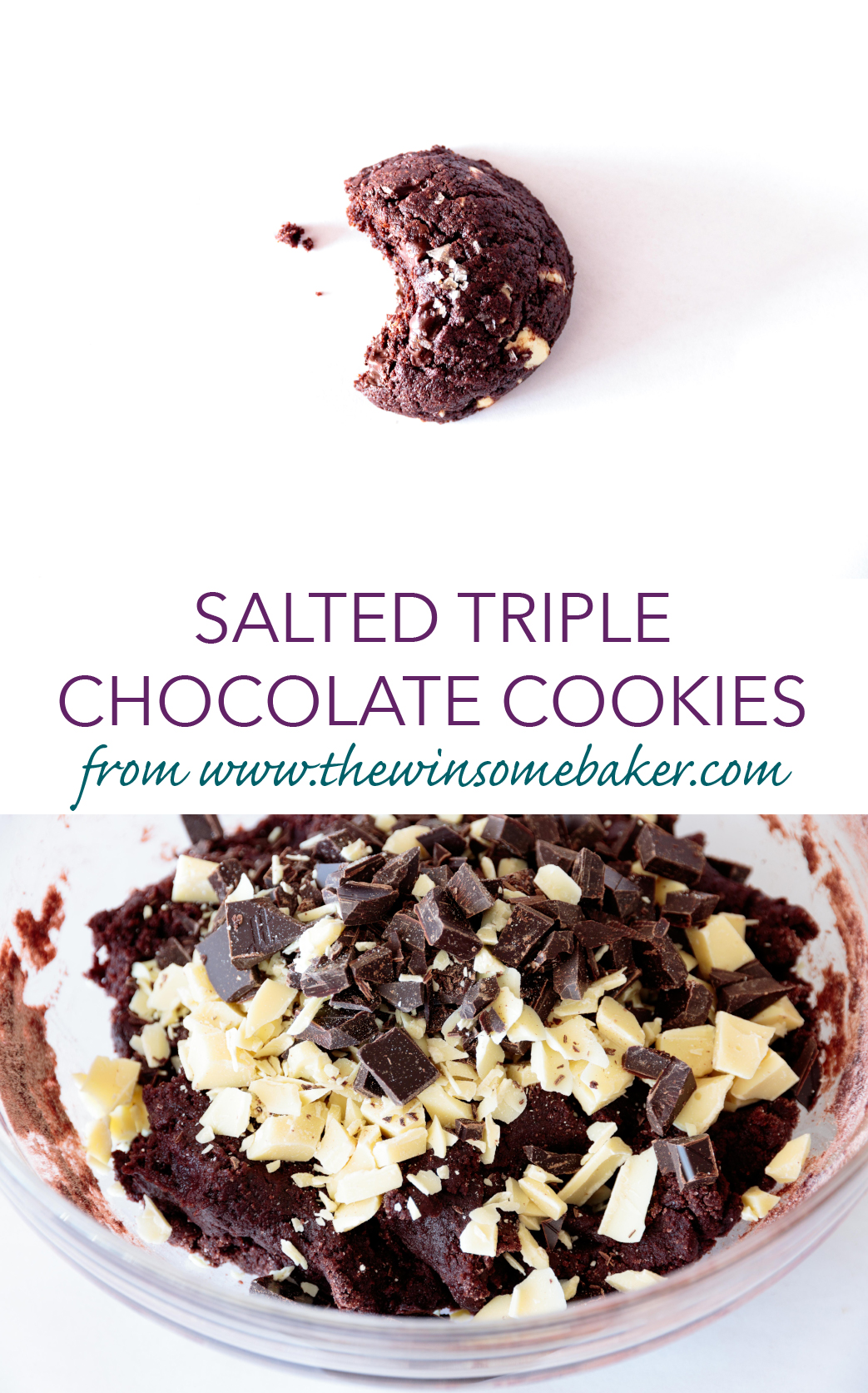 Salted Triple Chocolate Cookies | The Winsome Baker
